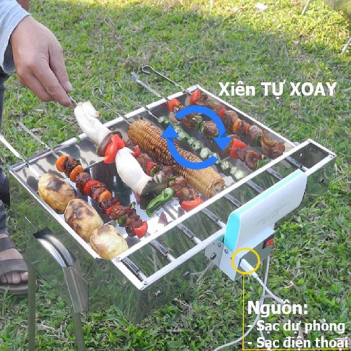 Bếp nướng than hoa MekongTech-V3: Tự xoay giúp chống cháy thực phẩm an toàn sức khỏe, chất liệu INOX( kích thước45x35x24cm), than hoa không khói dùng nướng ngoài trời dã ngoại