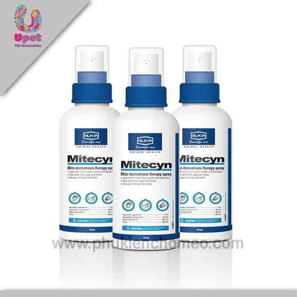 Miễn phí HCM>129k -AC005 - Alkin Mitecyn  50ml/lọ - xịt trị viêm da tổng hợp và các bệnh về da do ve (hanpet 4711667) chữa bệnh da liễu chó mèo-HP10537TC