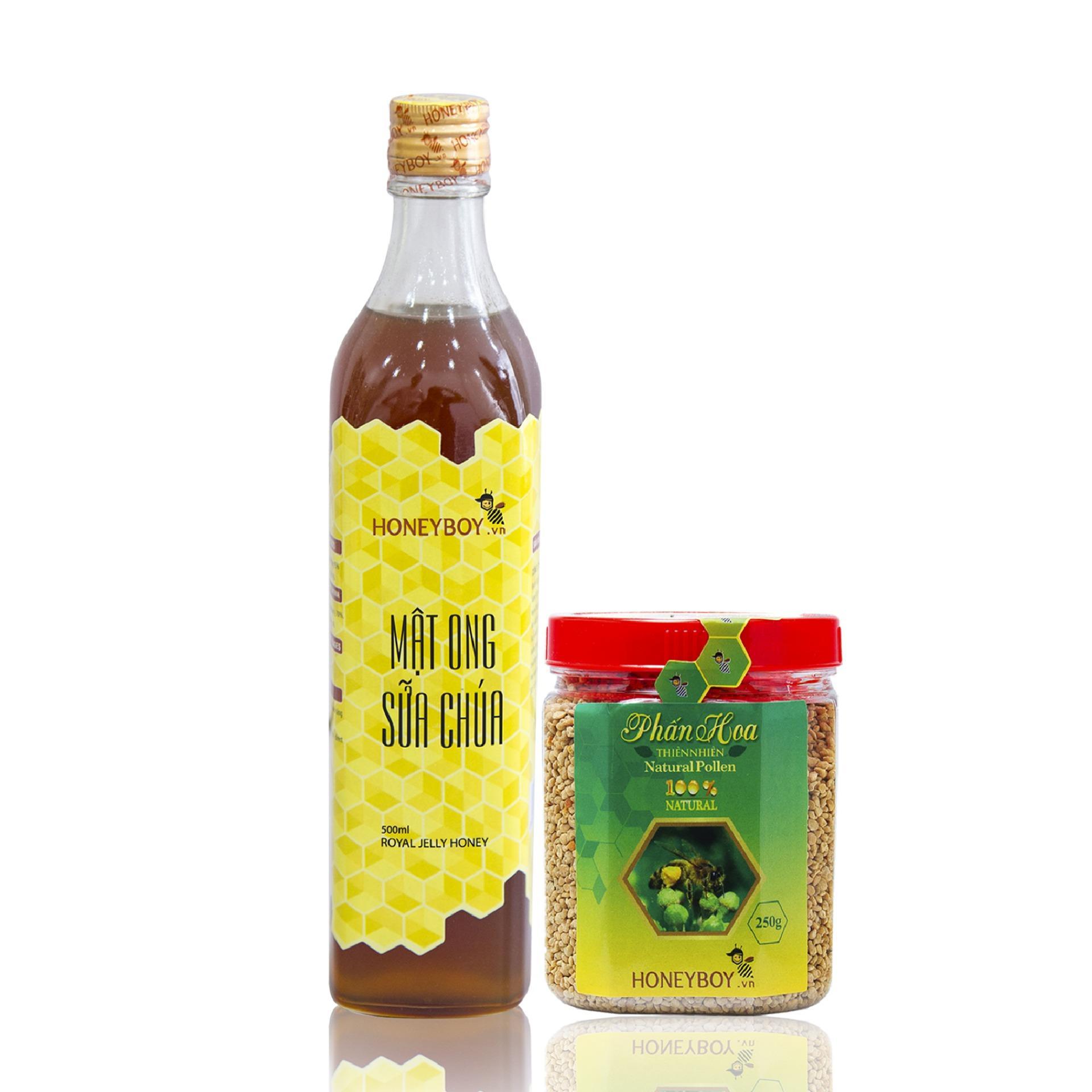 Bộ Mật ong sữa chúa Honeyboy 500ml và Phấn hoa thiên nhiên 250g nhập khẩu