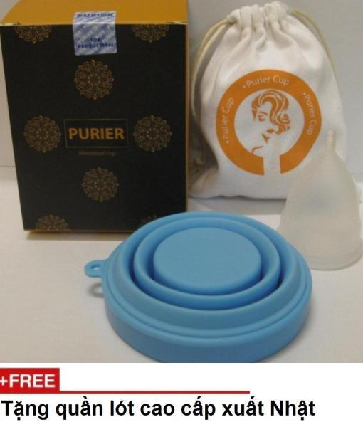 Bộ  cốc nguyệt san PURIER Canada + kèm cốc tiệt trùng  ( hàng nhập khẩu) + tặng quần lót