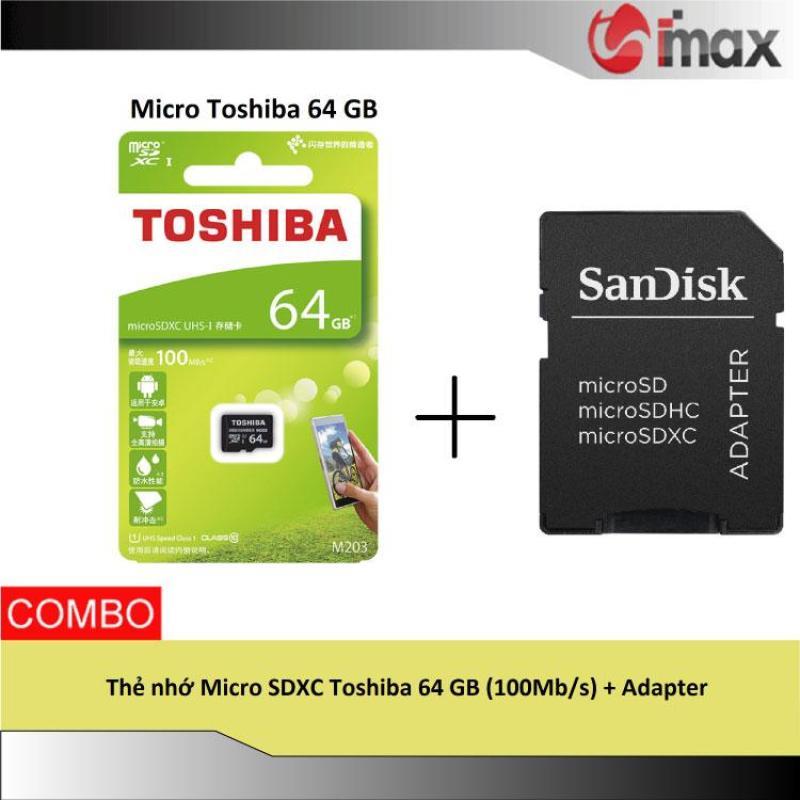 Thẻ nhớ Micro SDXC Toshiba 64 GB (100Mb/s) + Adapter