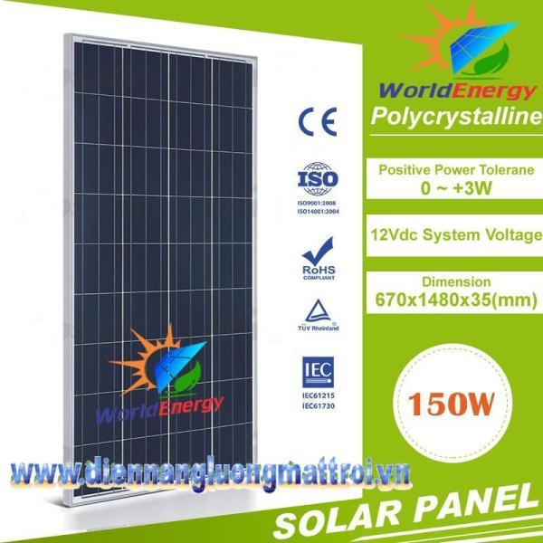 Tấm Pin Năng Lượng Mặt Trời Poly 150w (Tặng Jack MC4)