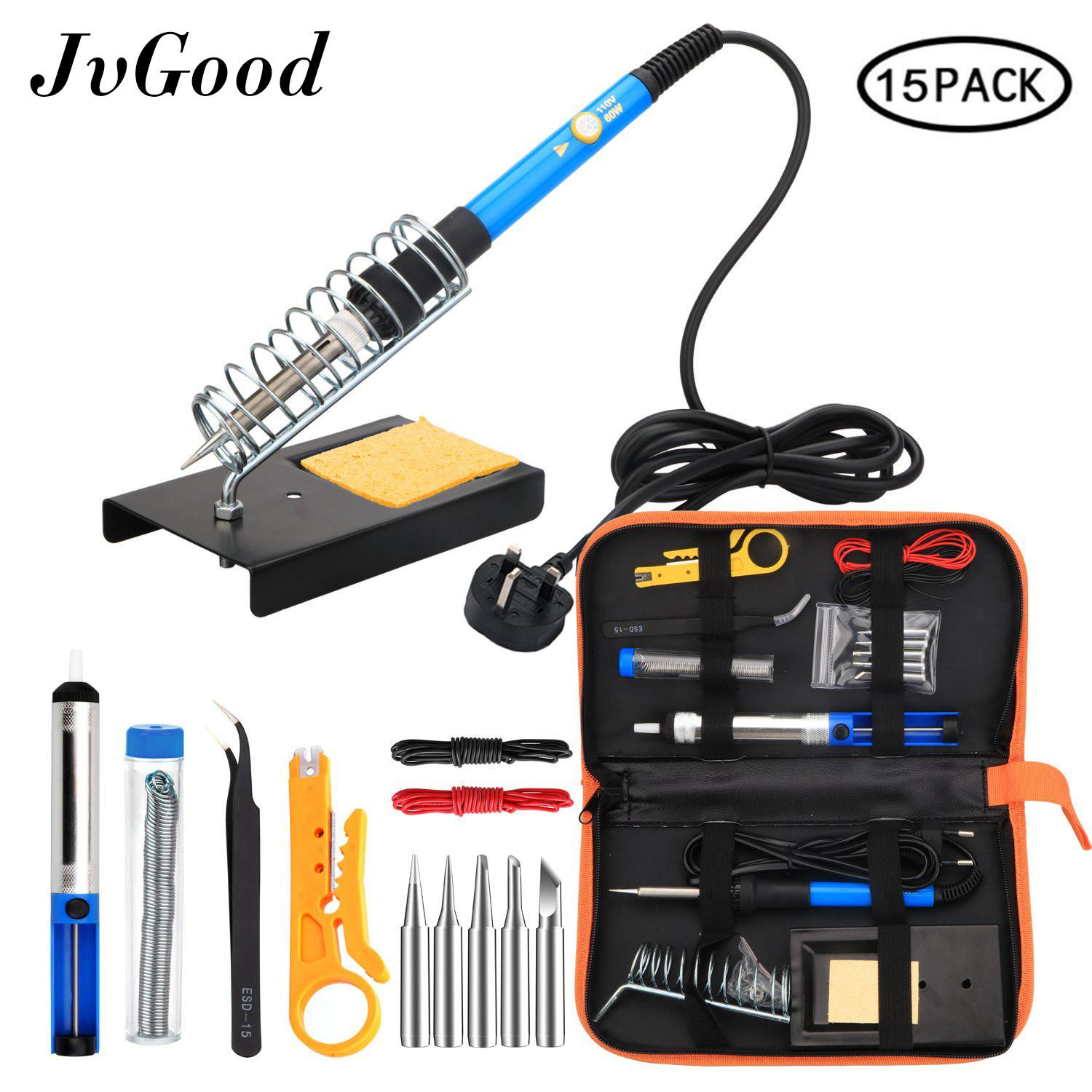 JvGood Soldering Iron Kit Electronics 15 Pieces Set 60W Adjustable Temperature Welding Tool, 5pcs Soldering Tips, Desoldering Pump, Soldering Iron Stand, Tweezers ( UK Plug)