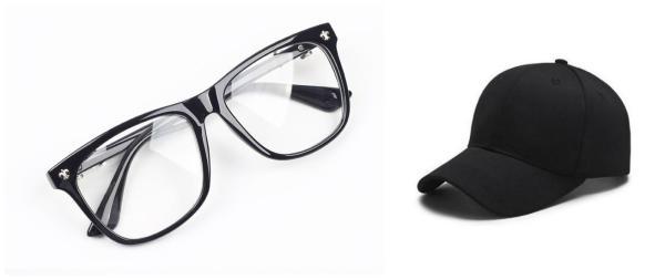 Giá bán Bộ kính giả cận mắt to và mũ lưỡi trai đen nam nữ