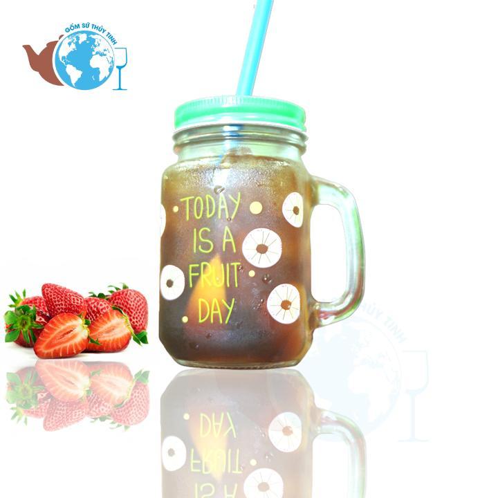 Hình ảnh Ly quai thủy tinh trà sữa in hình ngẫu nhiên 450ml