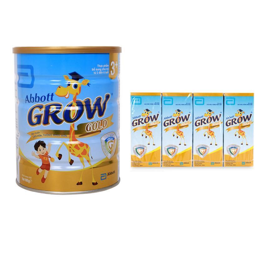 Bộ sữa bột Abbott Grow Gold 3+ Hương Vani 900G + Tặng 1 lốc sữa nước Grow 180ml