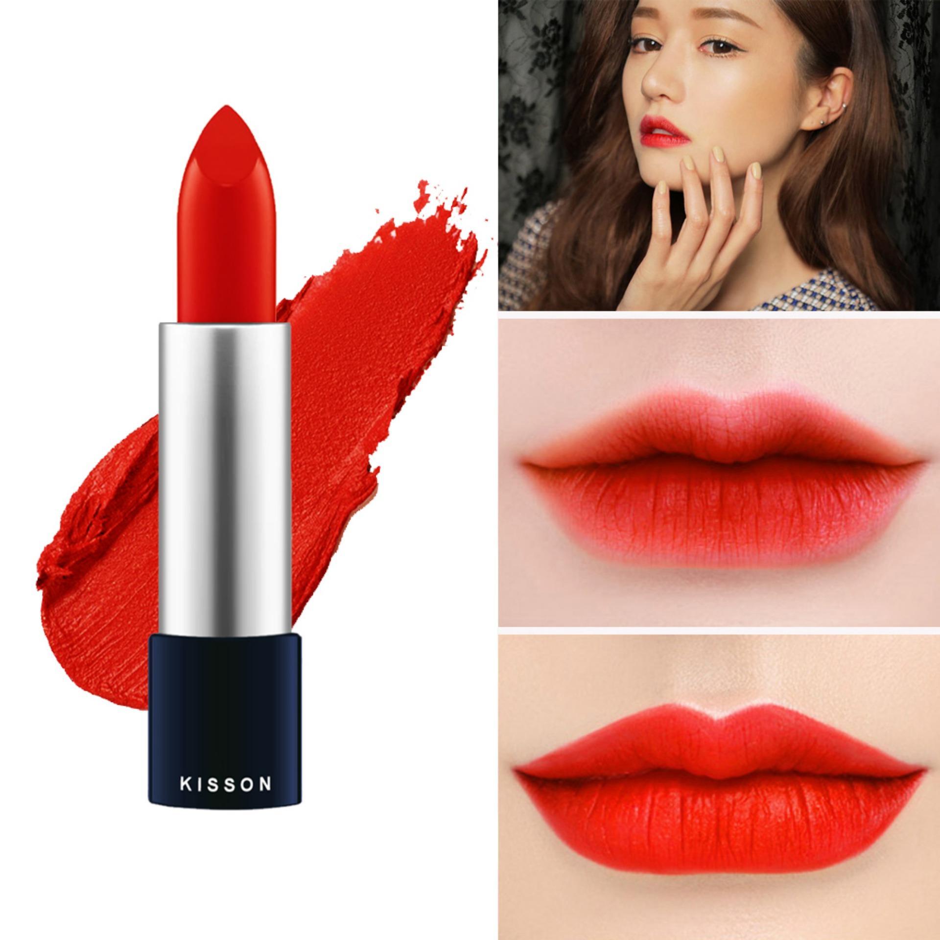 Son lì KISSON Matte Lipstick mã  KN03 ( màu đỏ cam) nhập khẩu