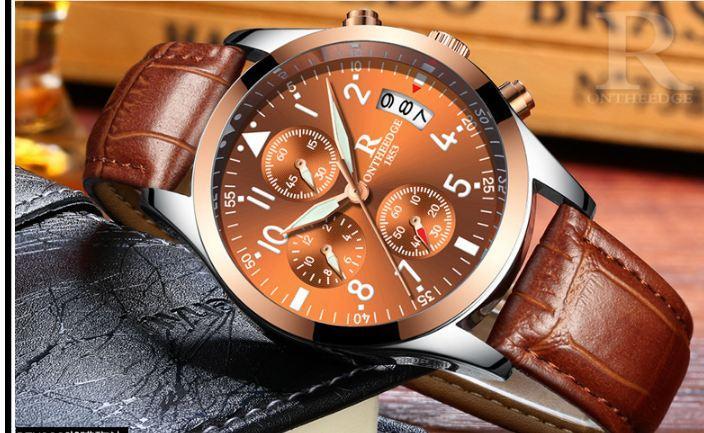 Đồng hồ nam doanh nhân dây da cao cấp Ontheedge Q02 chạy 6 kim