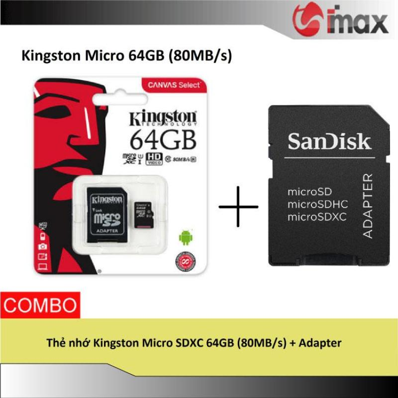 Thẻ nhớ Kingston Micro SDXC 64GB (80MB/s) + Adapter