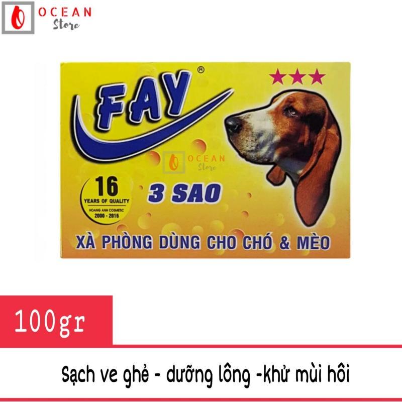 Xà phòng tắm trị ve ghẻ, dưỡng lông, khử mùi cho chó mèo - Fay 3 sao 100g