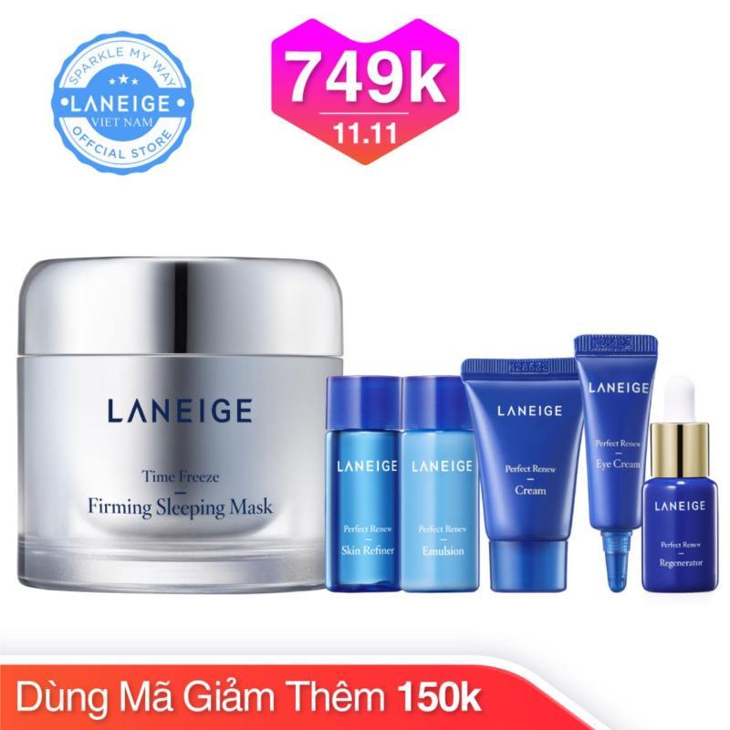 Mặt nạ ngủ ngăn ngừa lão hóa Laneige Time Freeze Firming Sleeping Mask 60ml + Tặng bộ dưỡng chống lão hóa Perfect Renew Trial Kit (5 món) nhập khẩu