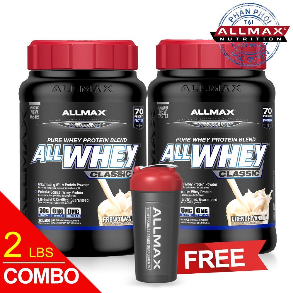 Set 2 hộp thực phẩm bổ sung whey protein cao cấp ALLMAX ALLWHEY CLASSIC VANILLA
