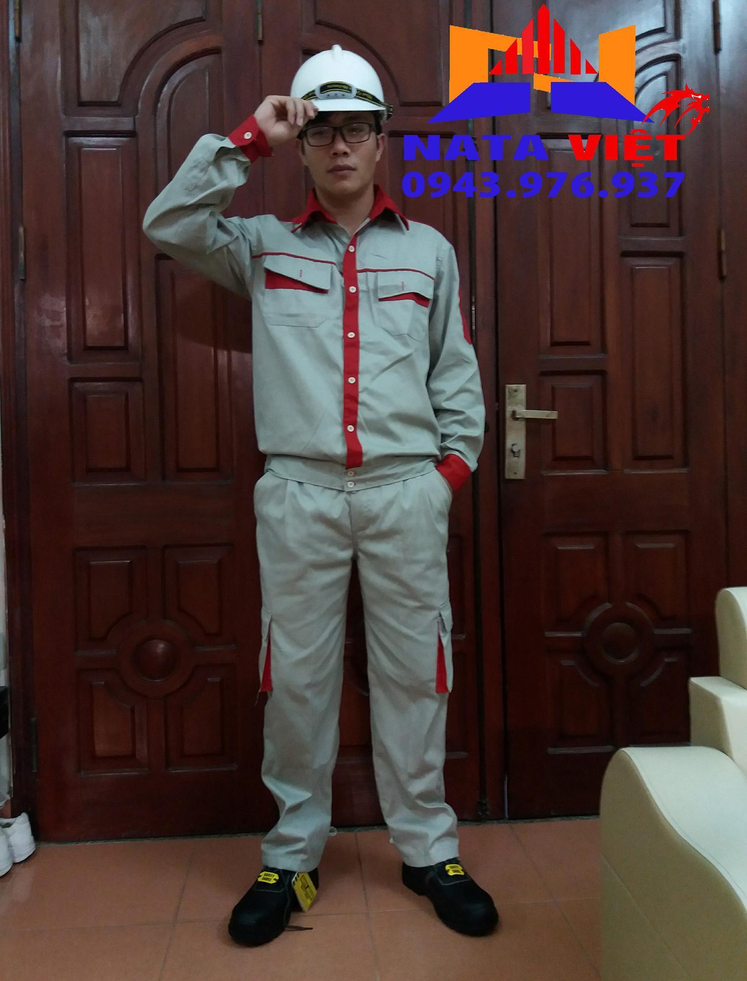 Quần áo bảo hộ lao động phối đỏ size 6