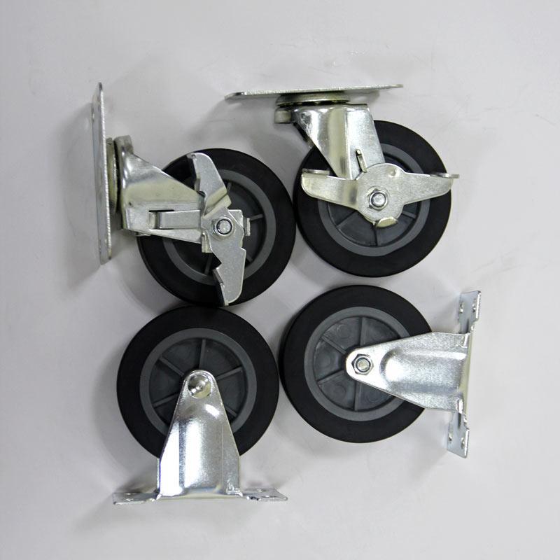 Bộ 4 bánh xe đẩy đường kính 100mm chịu tải trọng 170kg , bánh xe có chốt hãm nhựa cao su tổng hợp TPR/PP chất lượng tốt bền và không bị ăn mòn