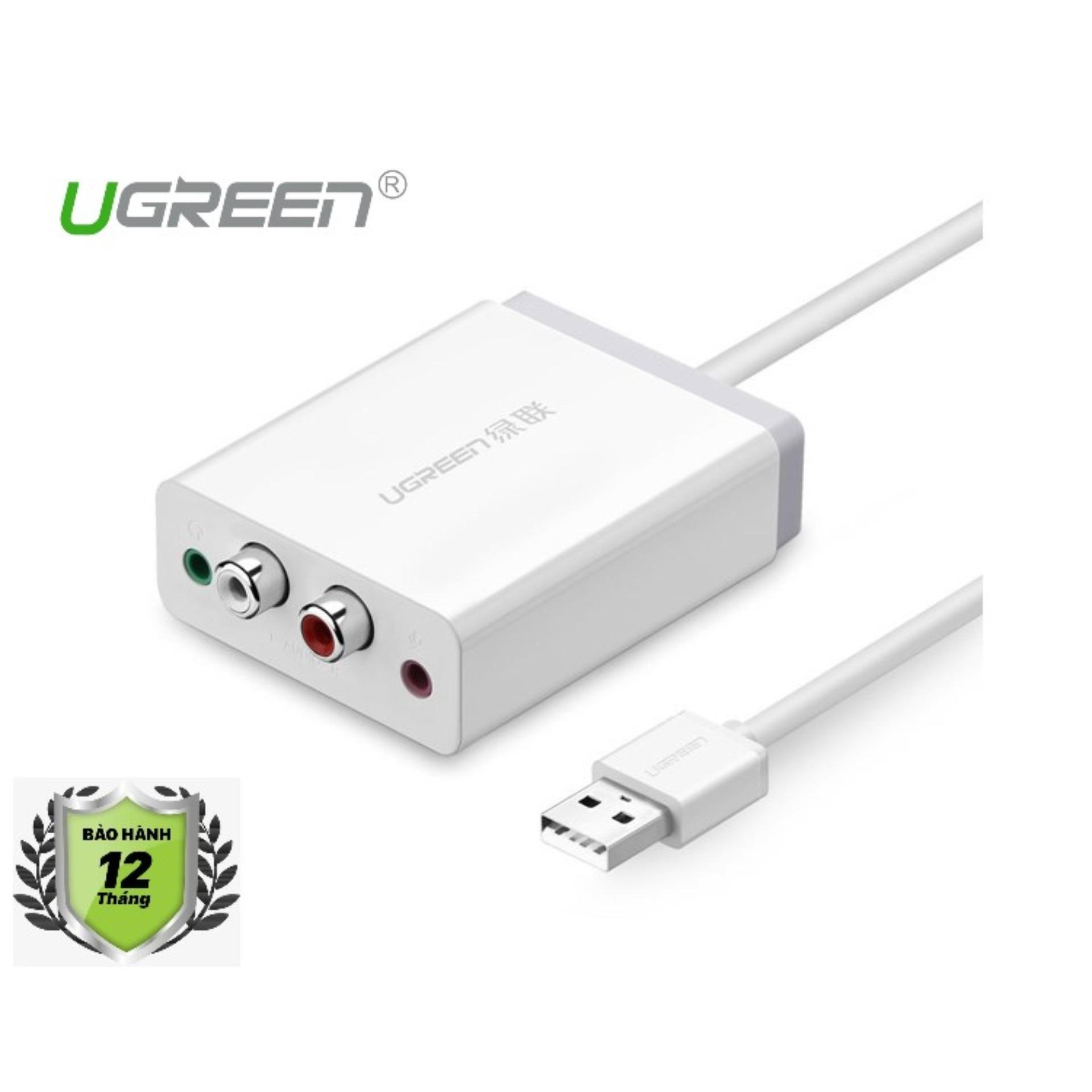 Hình ảnh Cáp chuyển USB 2.0 sang AV 3.5mm Ugreen 30521 (Trắng)