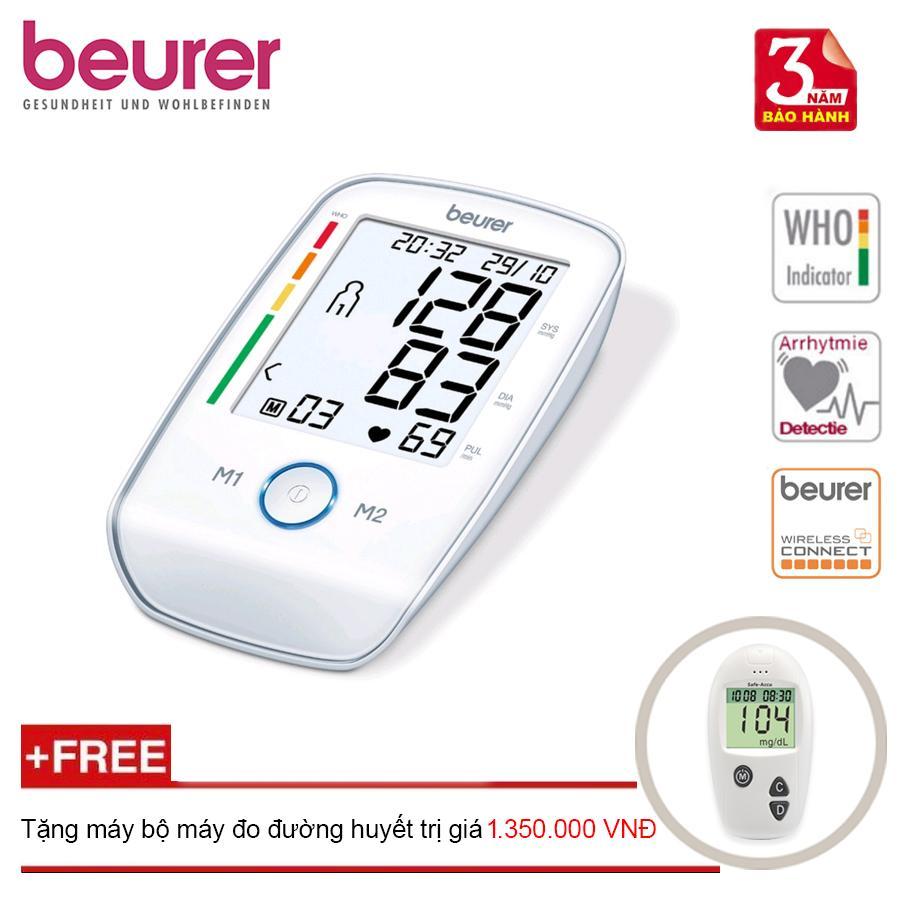 Máy Đo Huyết Áp Bắp Tay Beurer Bm45 + Tặng Đồng Hồ Thể Thao + tặng máy đo đường huyết bán chạy