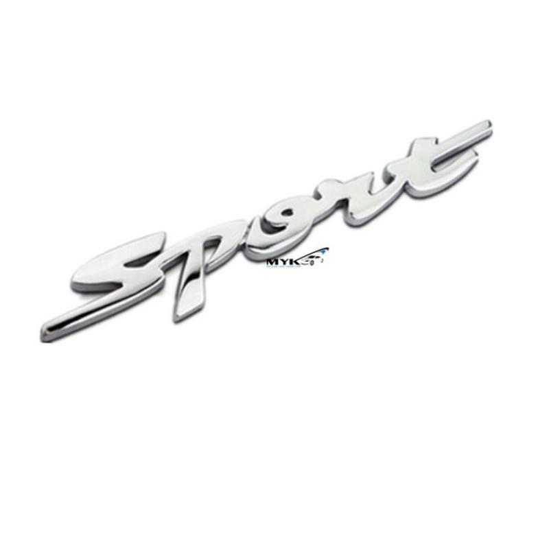 Logo 3d Sport version 3 trang trí xe ô tô (bạc) Myk