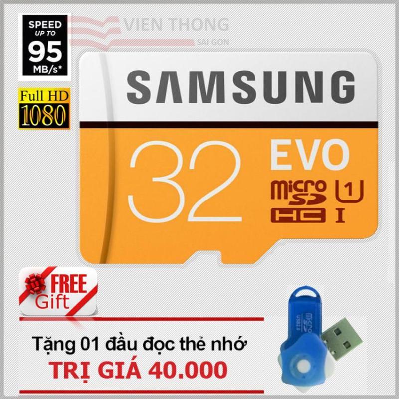 Thẻ nhớ 32gb Samsung EVO MicroSDHC up to 95MB/s (Cam) + Tặng 01 đầu đọc thẻ micro pt