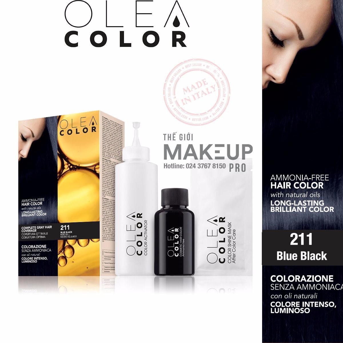 Hình ảnh Kem nhuộm dưỡng tóc không Amoniac Olea Color ITALY #211 Blue Black