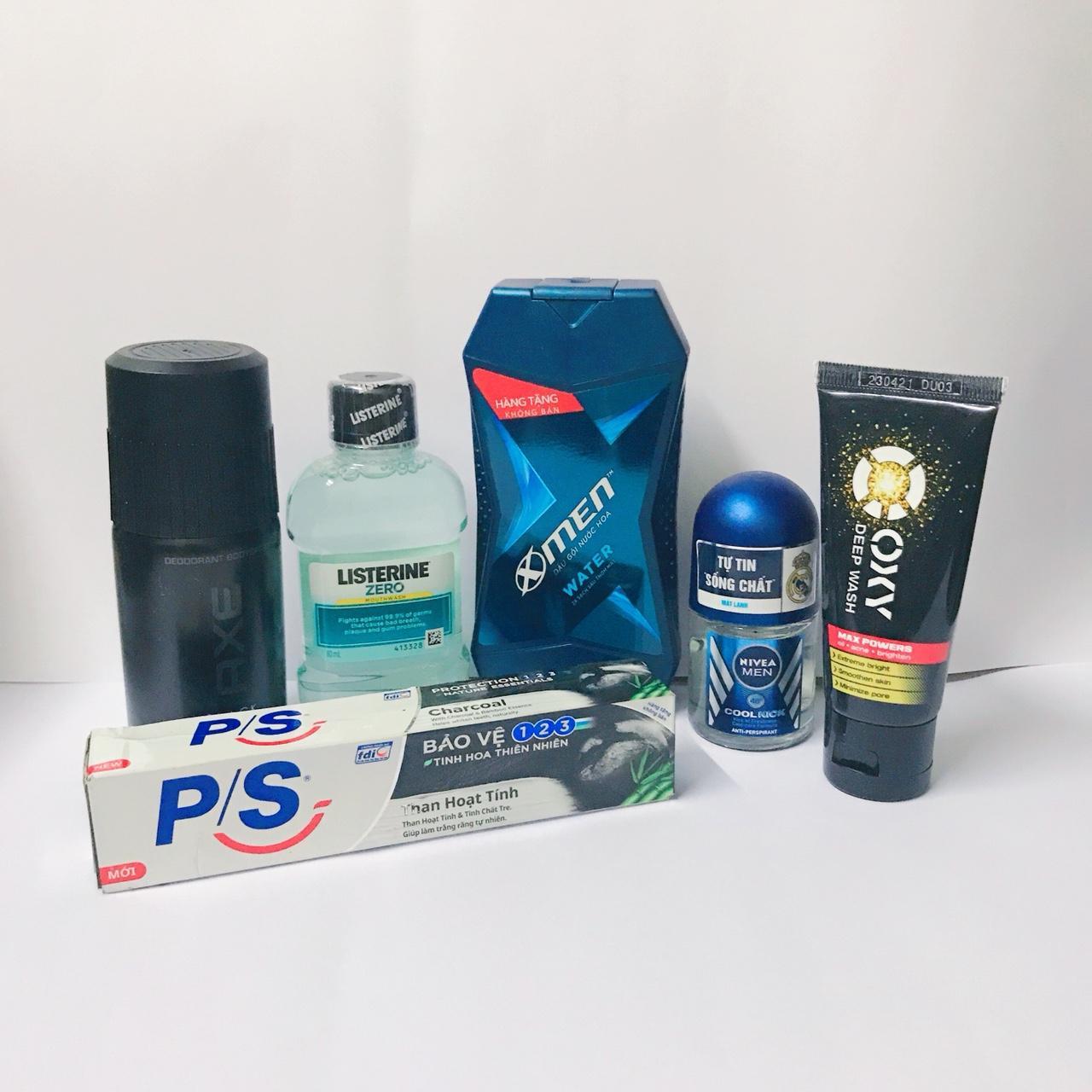 (NHH) Trọn bộ 6 Sản Phẩm Bao Gồm (1 Dầu Gội Đầu Xmen (70g/chai), 1 Xịt khử mùi AXE (50ml/chai), 1 Kem đánh răng P/s (30g/tuýp) + 1 Nước súc miệng Listerin (80ml), 1 Lăn khử mùi Nivea (12ml), 1 tuýp sữa rửa mặt Oxy (25g))