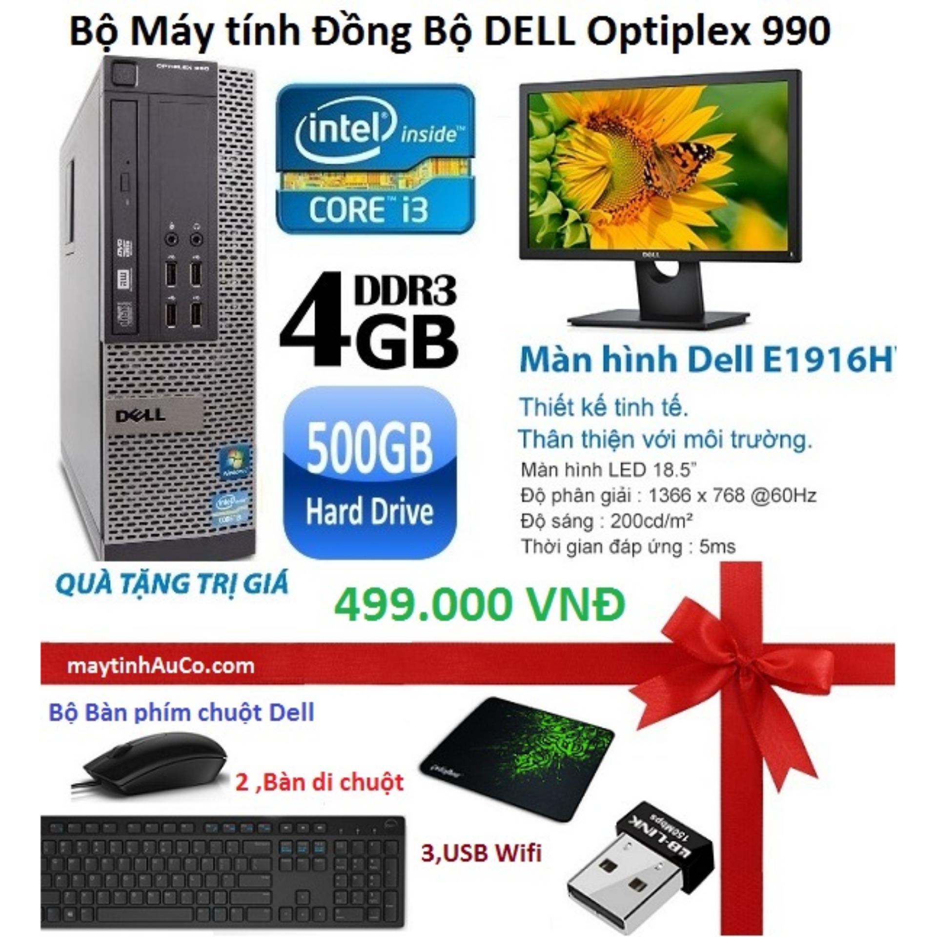 Đồng Bộ Dell Optiplex 990 (Core i3 2100 / 4G / 500G ), Màn hình Dell 18.5inch Wide Led , Tặng bàn phím chuột Dell , USB Wifi , Bàn di chuột  - Hàng Nhập Khẩu