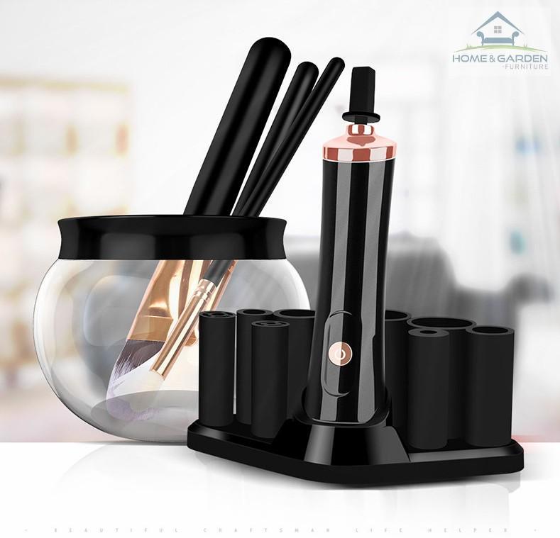 Máy rửa cọ trang điểm Makeup Brush Cleaner Bộ 10 chi tiết (Màu Trắng) - tốt nhất