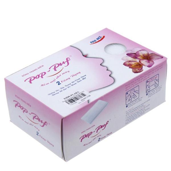 Bông tẩy trang Pop-Puf - 2 Công Dụng 100 Miếng ( Trang điểm + tẩy trang) - Thanh Loan