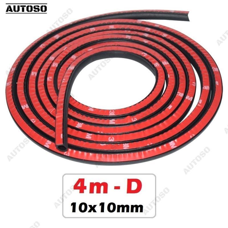 Gioăng cao su chữ D 10x10mm - Bộ 4m Small, chống ồn cách nhiệt xe hơi - AUTOSO