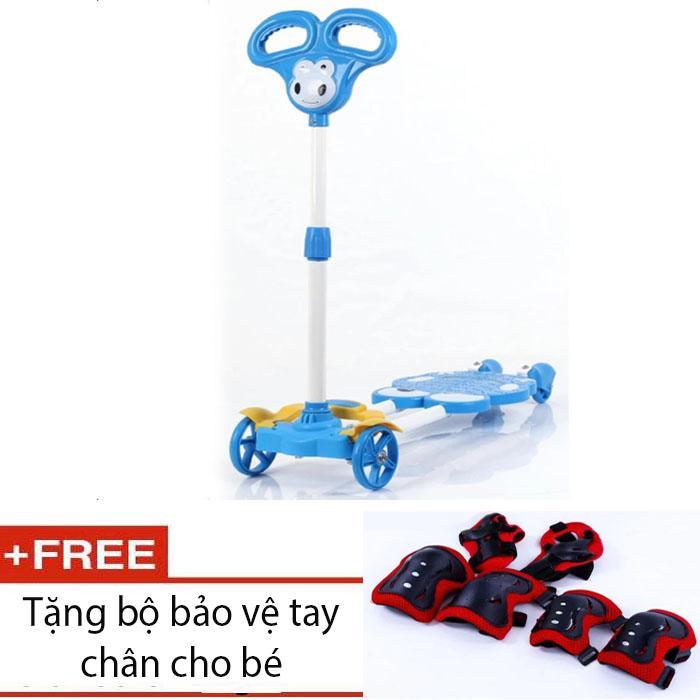 Giá bán Xe Scooter 4 bánh cho bé (Xanh ) + tặng bảo vệ tay chân.