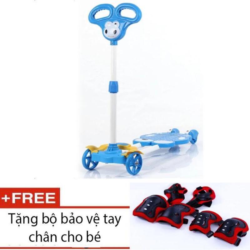 Mua Smart Store Shop Xe đẩy Scooter 4 bánh cho bé (Xanh dương) + bảo vệ tay chân bé