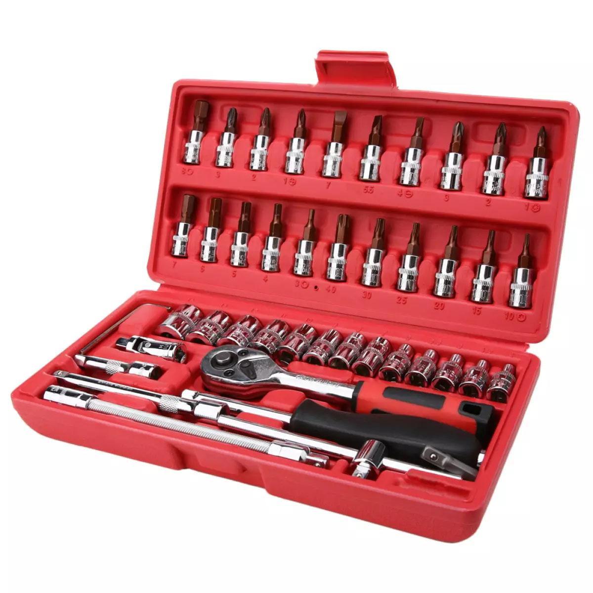 Bộ dụng cụ cầm tay 46pc Bộ dụng cụ cầm tay 1/4 Dụng cụ sửa chữa xe Tay cầm bàn chải Ratchet Công cụ - intl