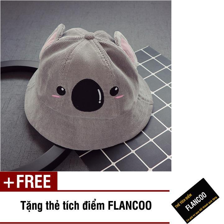 Hình ảnh Nón vành hình gấu vải jean thời trang bé trai Flancoo 1712 (Xám) + Tặng kèm thẻ tích điểm Flancoo