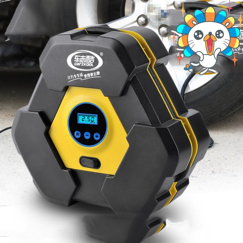 Hình ảnh Bơm hơi tay, Bơm xe máy mini gia re, Máy bơm lốp ô tô, xe hơi, xe máy, xe đạp… CARZKOOL loại 12v có màn hình hiển thị LED Bảo hành uy tín, dài hạn Số lượng có hạn