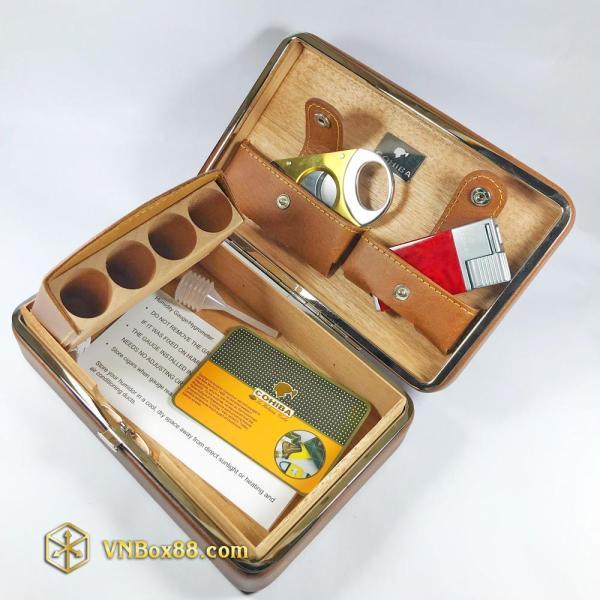 Hộp đựng 4 điếu Xì Gà Cohiba, cắt, khò