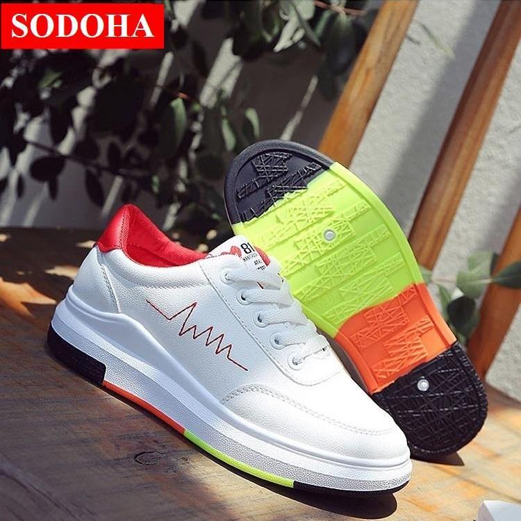 Giày Sneaker thể thao nữ SODOHA shop SN 36HQ89R - Trắng Phối Đỏ