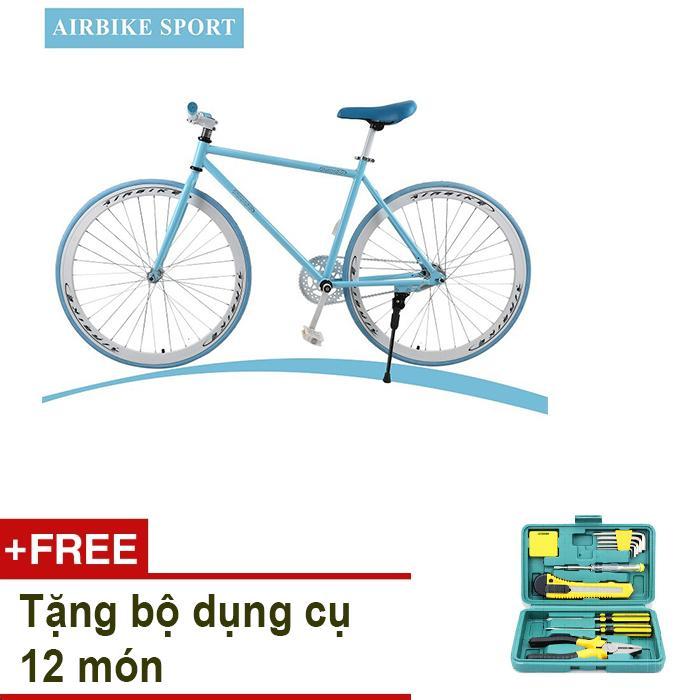 Xe đạp Fixed Gear Air Bike MK78 (xanh) + Tặng bộ dụng cụ 12 món