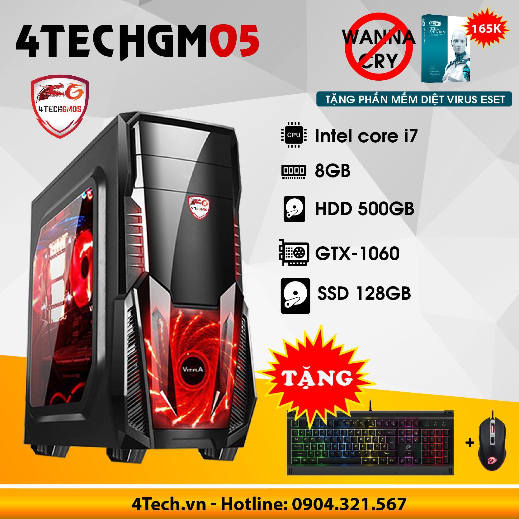 Hình ảnh Máy tính chơi Game 4TechGM05 core i7, ram 8GB, HDD 500G, SSD 128GB, vga GTX1060 - Tặng phím chuột Gaming DareU.