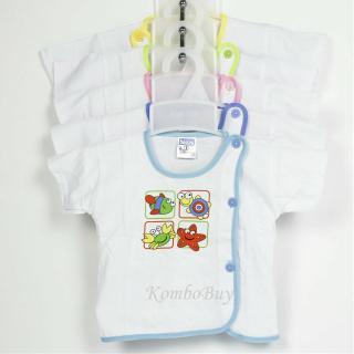 Áo sơ sinh bosini ngắn tay màu trắng cúc lệch đủ size cho bé từ 0-12 tháng thumbnail