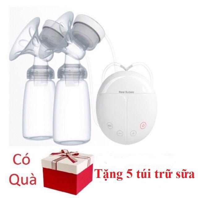 Máy hút sữa điện đôi Real Bubee + Tăng 5 túi trữ sữa ( Có chế độ massa kích sữa, Hút êm ái như em bé bú)