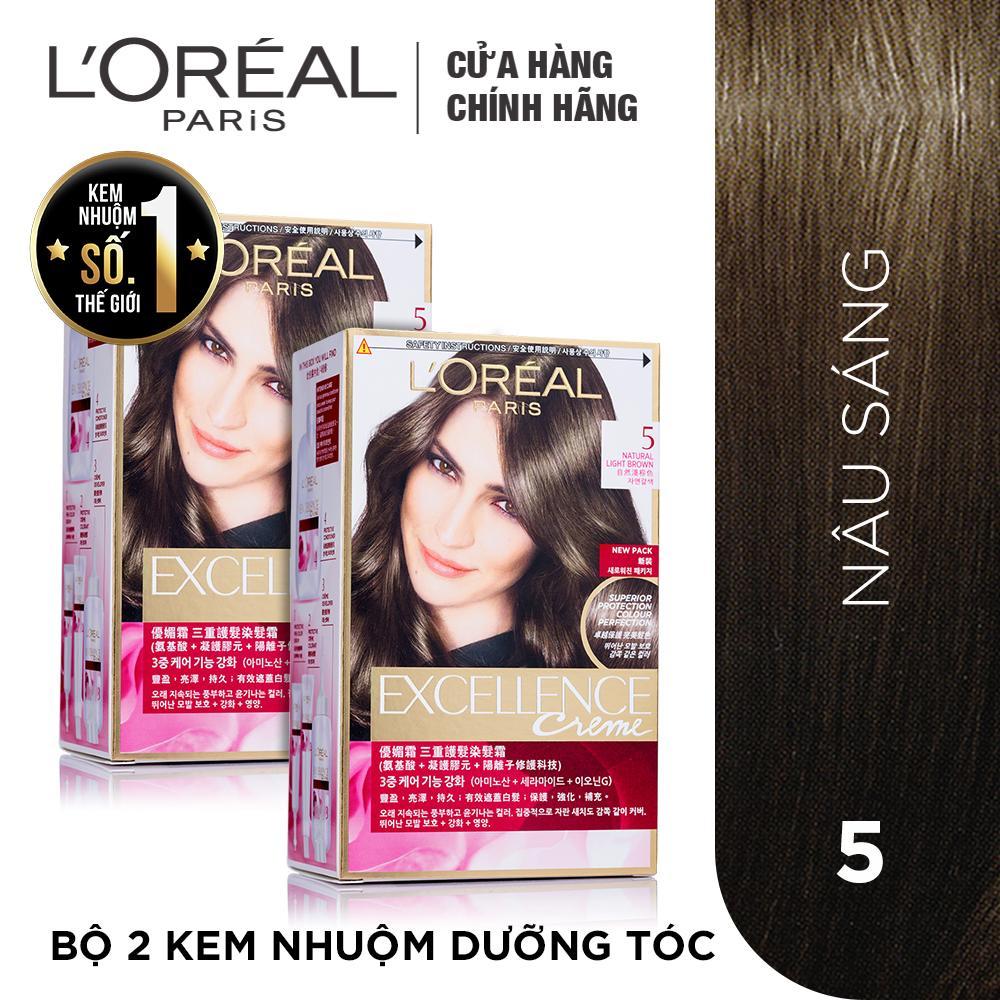 Hình ảnh Bộ 2 kem nhuộm dưỡng tóc phủ bạc L'Oreal Paris Excellence màu 5