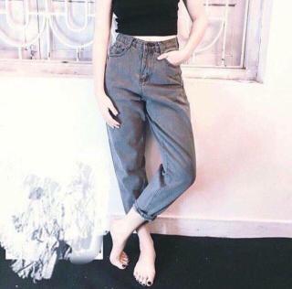 Quần Jean Nữ Lưng Cao Chất Liệu Đẹp Baggy Legging Xám ( SET QUẦN JEAN + ÁO THUN ĐẶT RIÊNG ) thumbnail