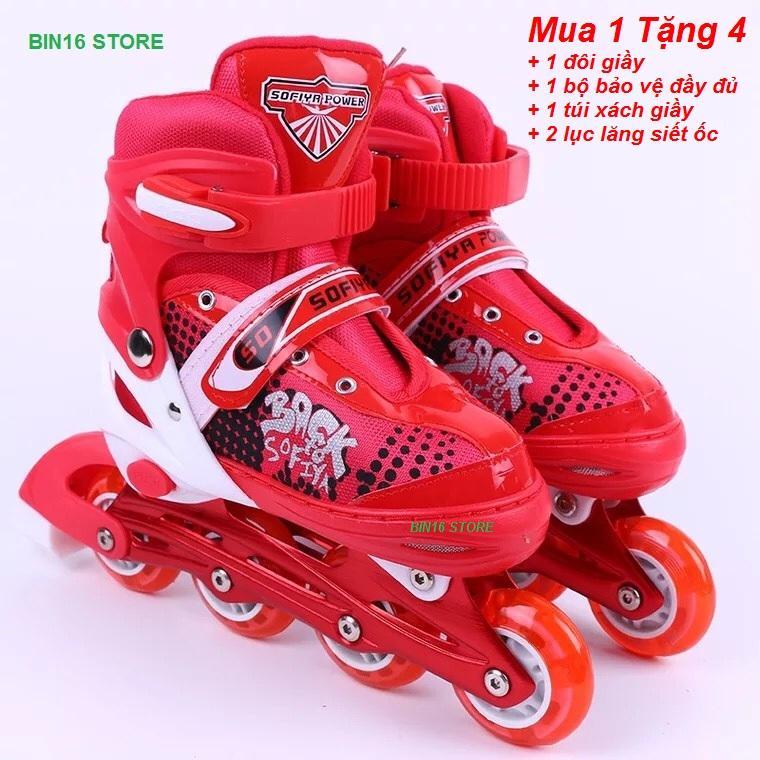 giầy trượt patin phát sáng siêu đẹp,,, tặng full bộ bảo hiểm + tặng thêm 1 túi xách giầy tiện lợi + 2 lục lăng siết ốc
