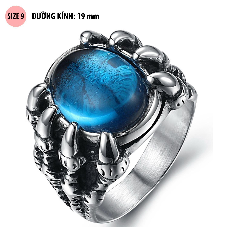 Nhẫn nam thời trang bằng titan Móng rồng đá xanh biển SH01