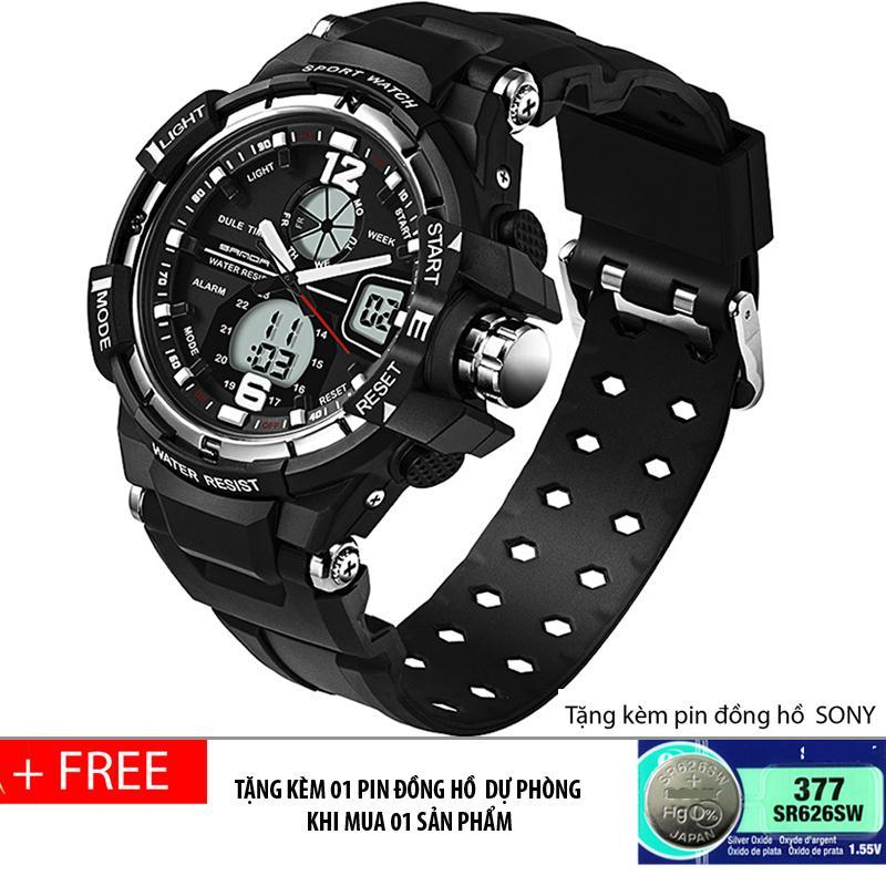 Đồng hồ thể thao nam chống nước SANDA, dây silicone( đen bạc) + Tặng kèm pin đồng hồ dự phòng