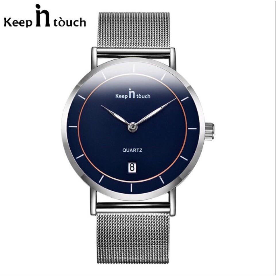 Nơi bán Đồng hồ nam Keep IN tóuch dây kim loại lưới từ mặt kèm lịch ngày + Tặng hộp đồng hồ sang trọng (Đỏ hoặc đen)