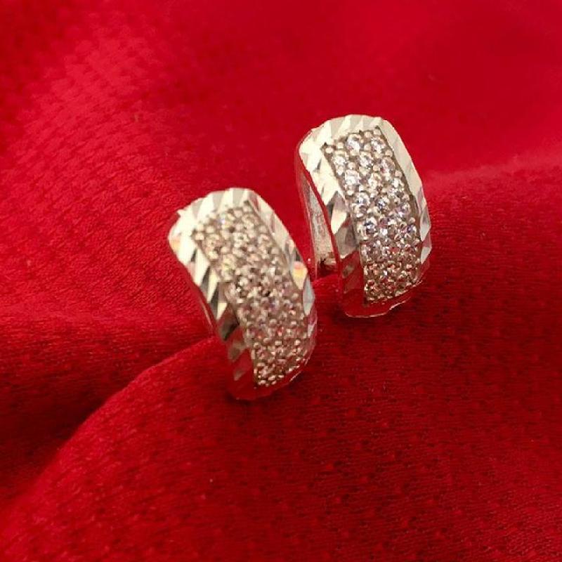 Bông tai phay bạc 925 cao cấp - BQTJ26-305 - trang sức Bạc QTJ, Bông tai sát tai (BẠC )