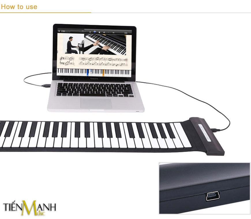Đàn Piano Konix 61 Phím Cuộn Mềm Dẻo Flexible MD61S (Không Loa, Cần Kết Nối Máy Tính - Có Cáp Kết Nối USB - Roll Up Midi Keyboard Controller) Đang Có Ưu Đãi
