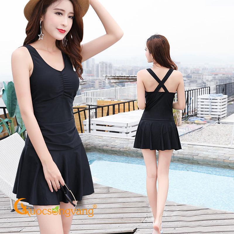Nơi bán Váy đầm đi biển màu đen váy đầm bơi nữ liền quần GLSWIM026