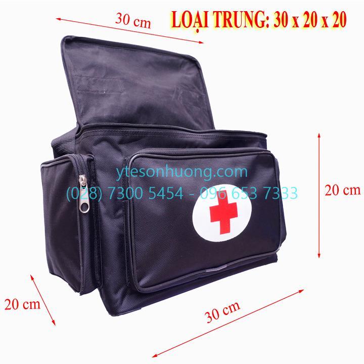 Túi cứu thương Đen Trung - 30cm x 20cm x 20cm