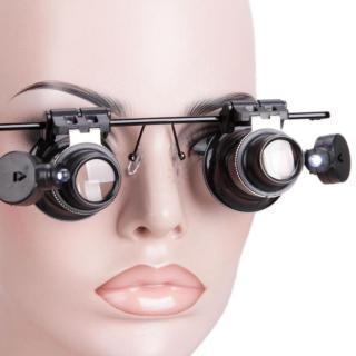 Kính lúp 2 mắt phóng đại 20 lần có đèn Led dùng trong sửa Làm Đẹp gọng kính được làm bằng kim loại chắc chắn thumbnail